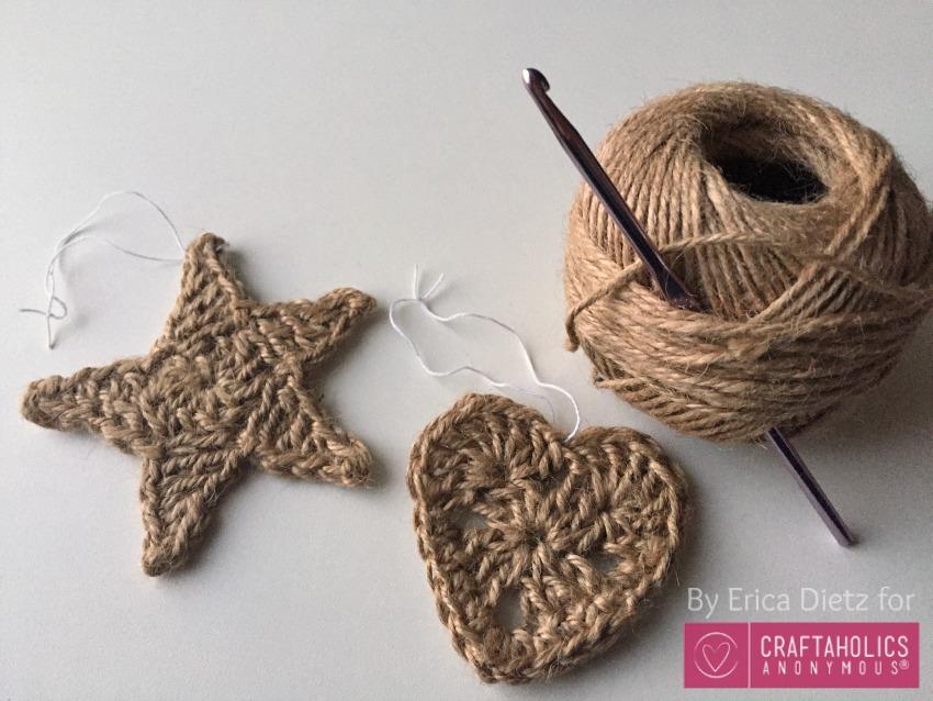 Crocheted jute ornaments