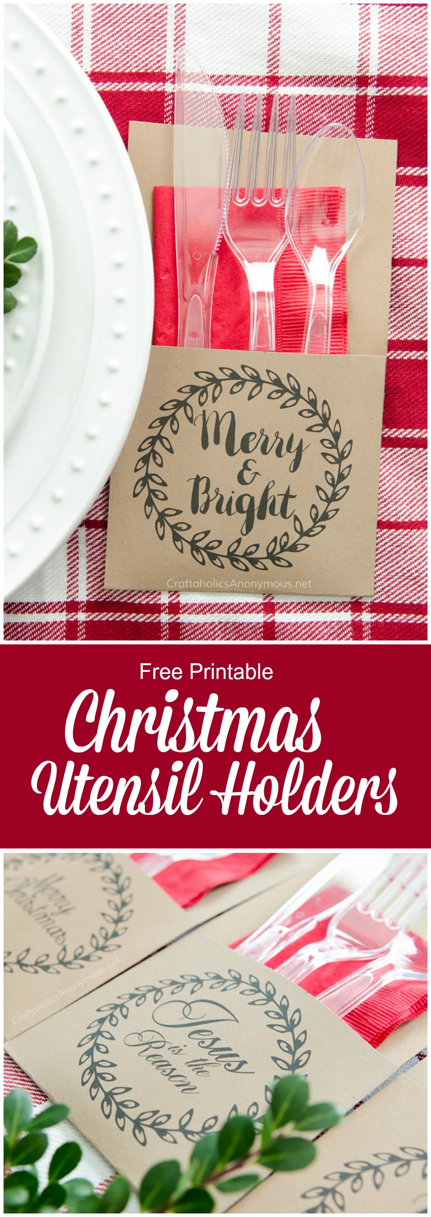 Utensil Holder printable for Christmas. Print off and glue together. So easy! Perfect for holiday parties!