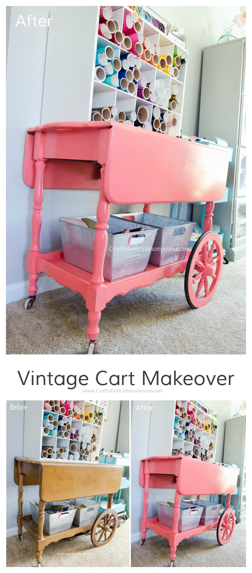 Vintage Bar Cart Makeover. Cart is used to store vinyl and ribbon in a craft room.