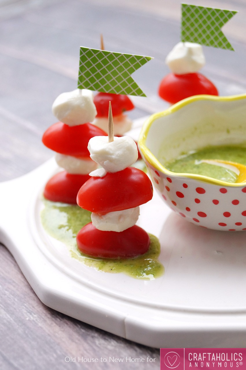 Mini Caprese Skewers with Pesto Sauce