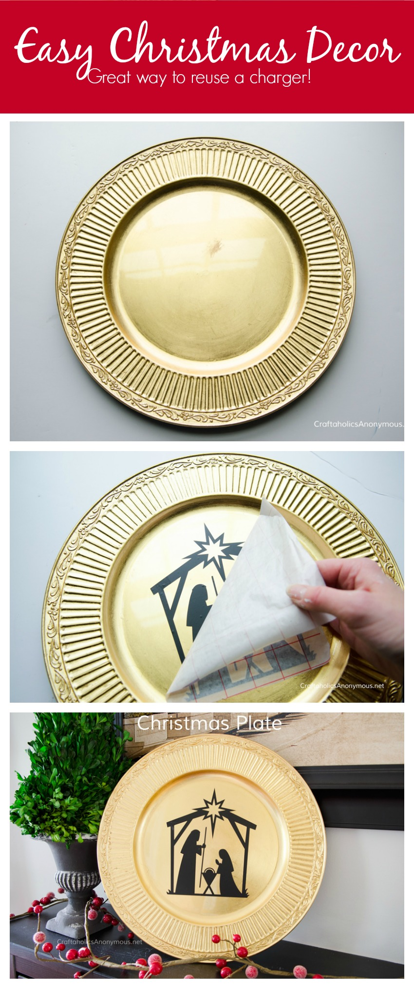 Christmas Charger plate decor idea. Would make a great handmade Christmas gift too!