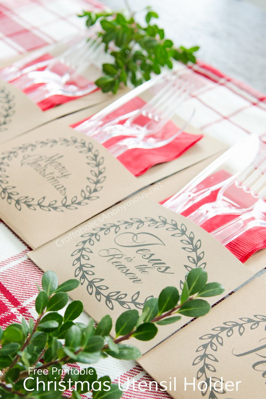 Christmas Utensil Holder - FREE Printable - 4 styles to pick from