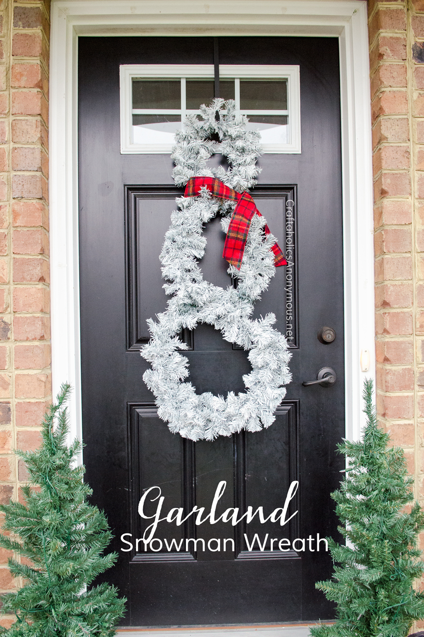 Turn a Christmas garland into a Snowman Wreath. Cheap Christmas wreath idea! Or Winter Wreath.