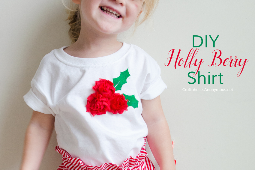 DIY Holly Berry Christmas Shirt tutorial. Great last minute Christmas outfit idea!