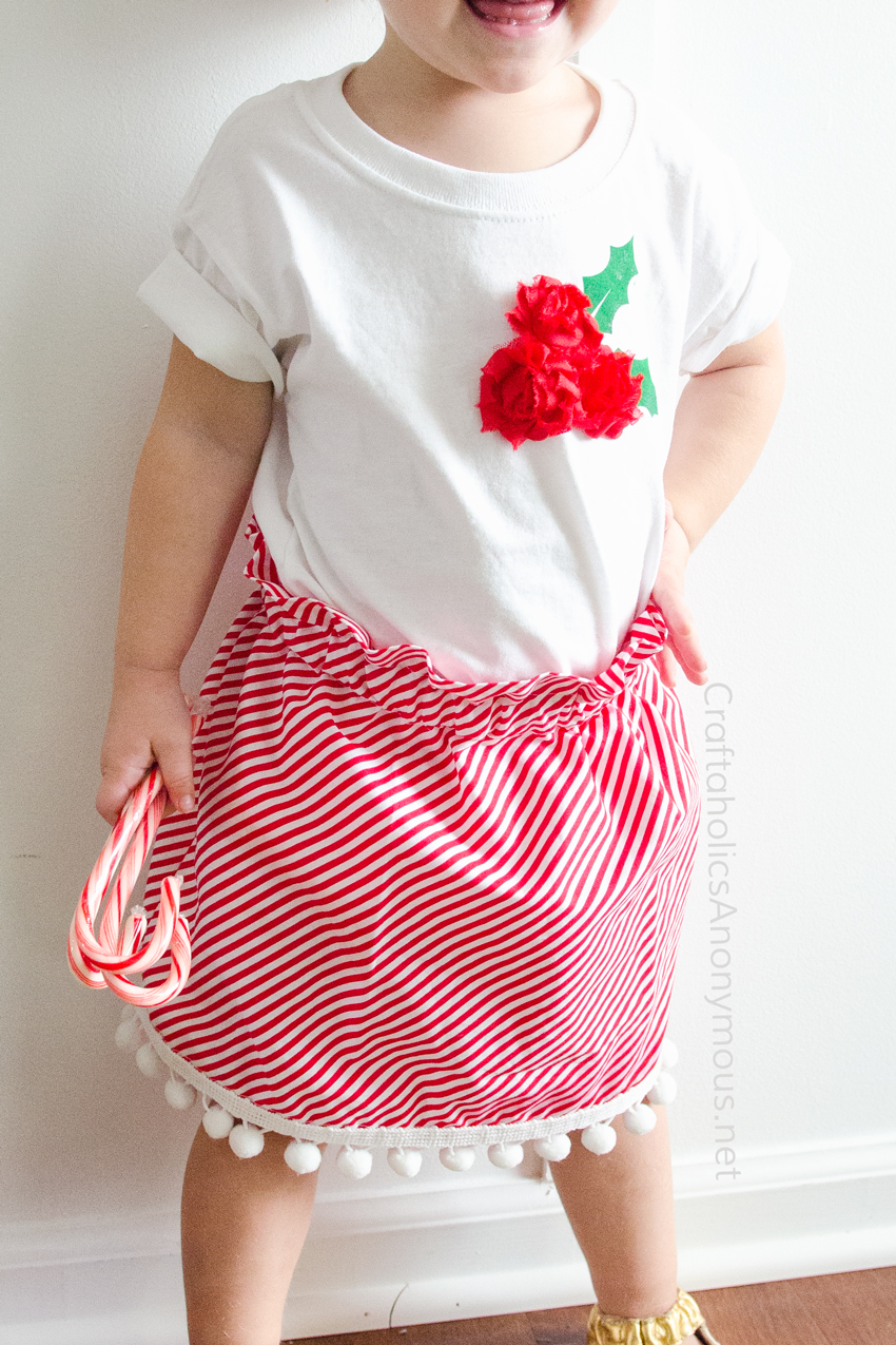 DIY Holly Berry Christmas Shirt tutorial. Great last minute Christmas outfit idea! links to skirt tutorial