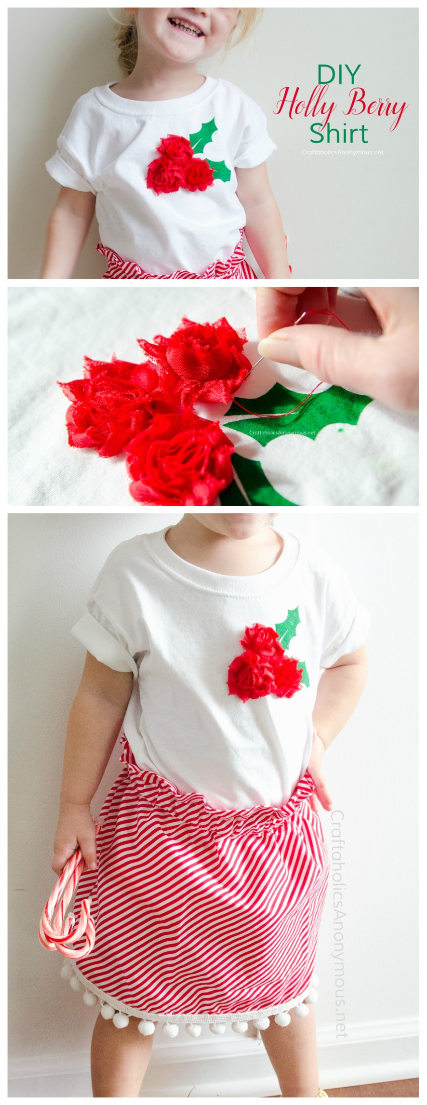 Last minute DIY Christmas T-shirt Tutorial :: Kids will love the 3D aspect!