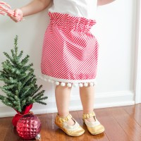 Candy Cane Stripe and Pom Pom Skirt Tutorial