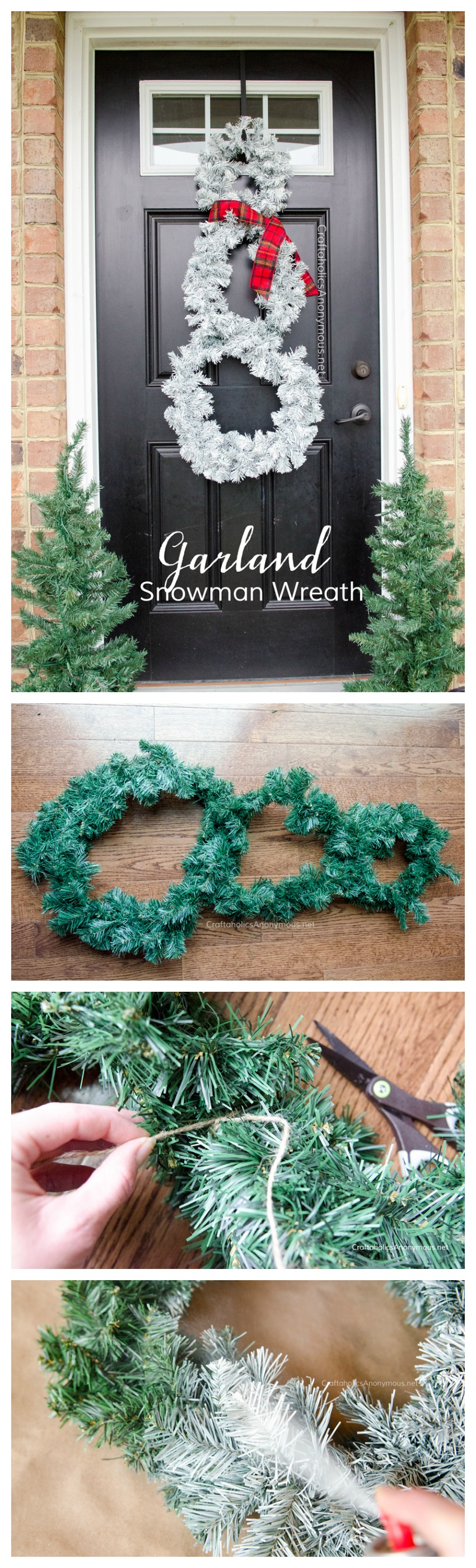 DIY Snowman Wreath tutorial using a garland. Cheap Christmas wreath idea! Or Winter Wreath.