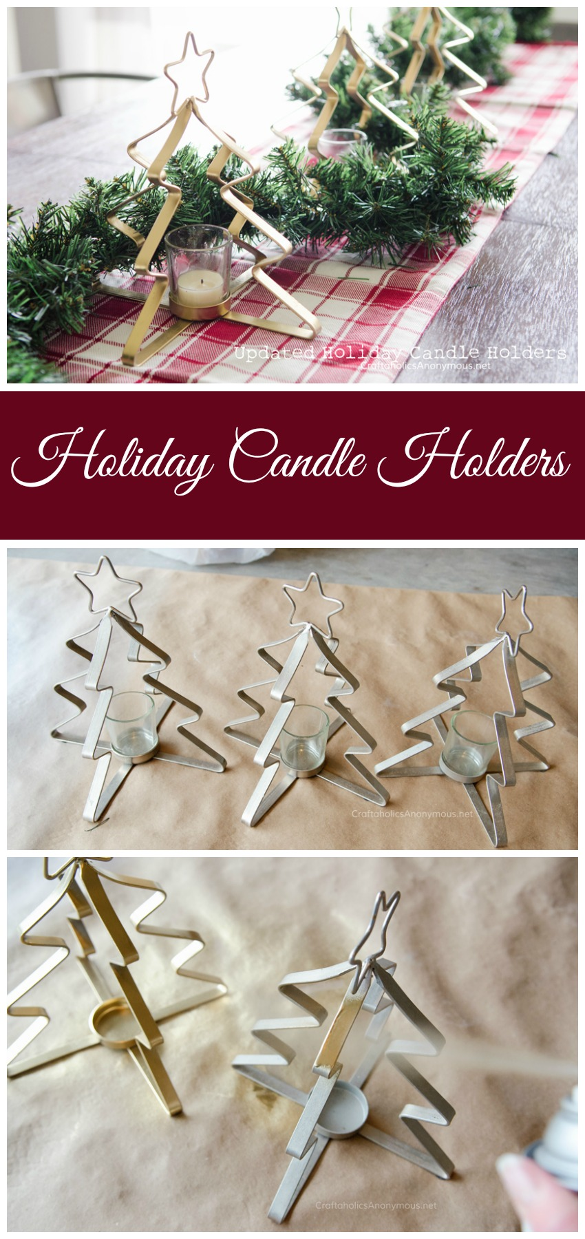 Update silver holiday candle holders with a coat of metallic gold spray paint
