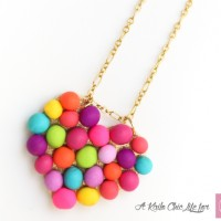 DIY Mini Pompom Heart Necklace