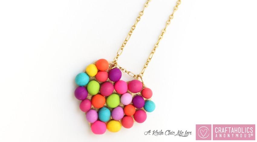 DIY Mini Pompom Heart Necklace