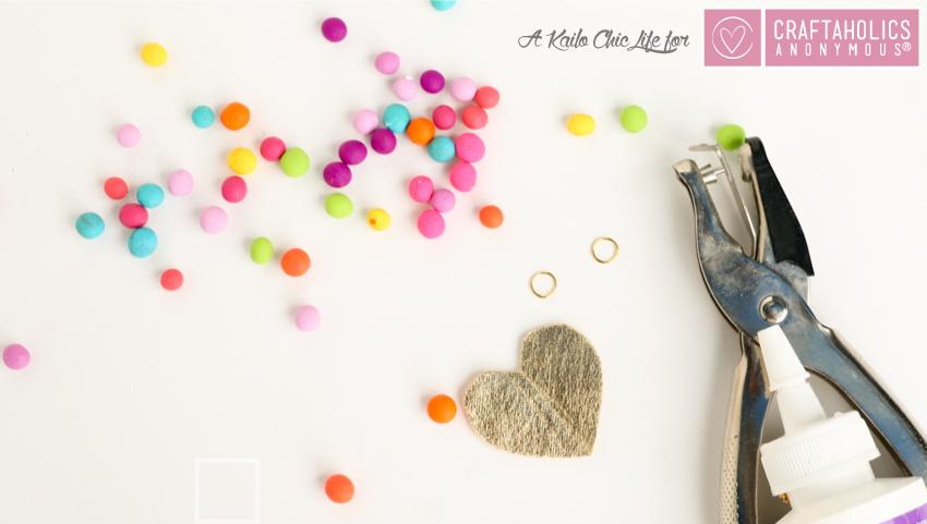 DIY Mini Pompom Heart Necklace | www.craftaholicsanonymous.net