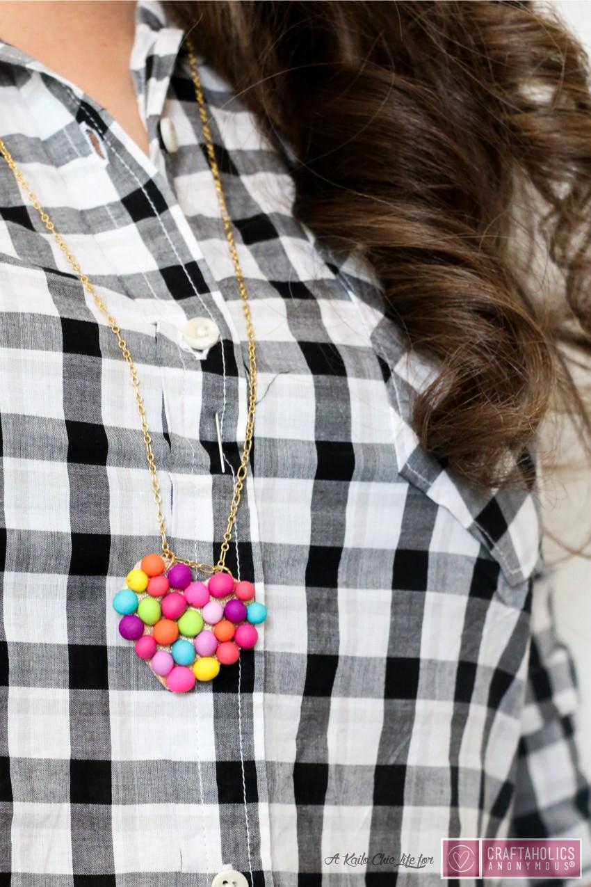 Mini PomPom Heart Necklace Tutorial | www.craftaholicsanonymous.net