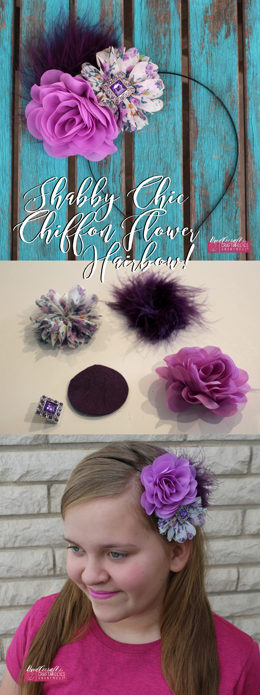 Make this beautiful Shabby Chic headband! Find the tutorial at Craftaholics Anonymous®