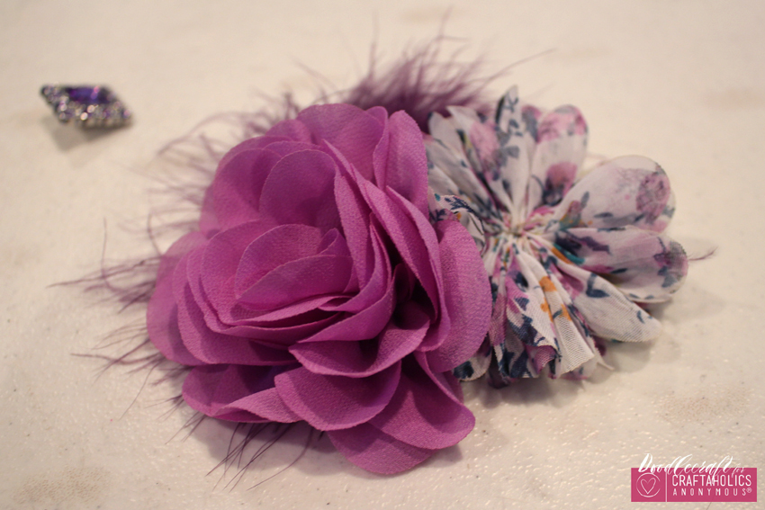 Shabby Chic hair bow clip orchid flowers chiffon marabou feather rhinestone button easy diy (5) CA