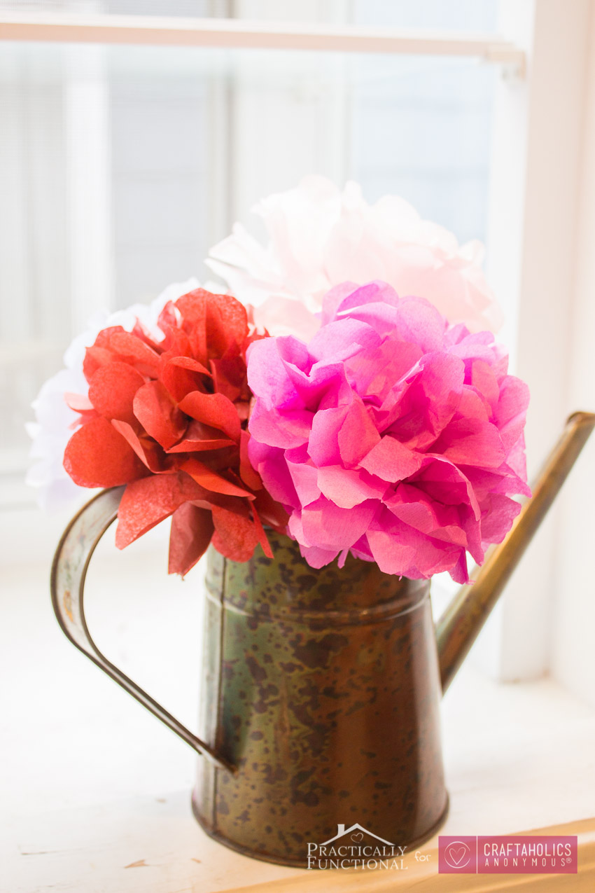 Handmade Tissue paper flowers make a beautiful bouquet! Perfect for parties, weddings, baby showers, decor, Valentine's Day, spring, etc.