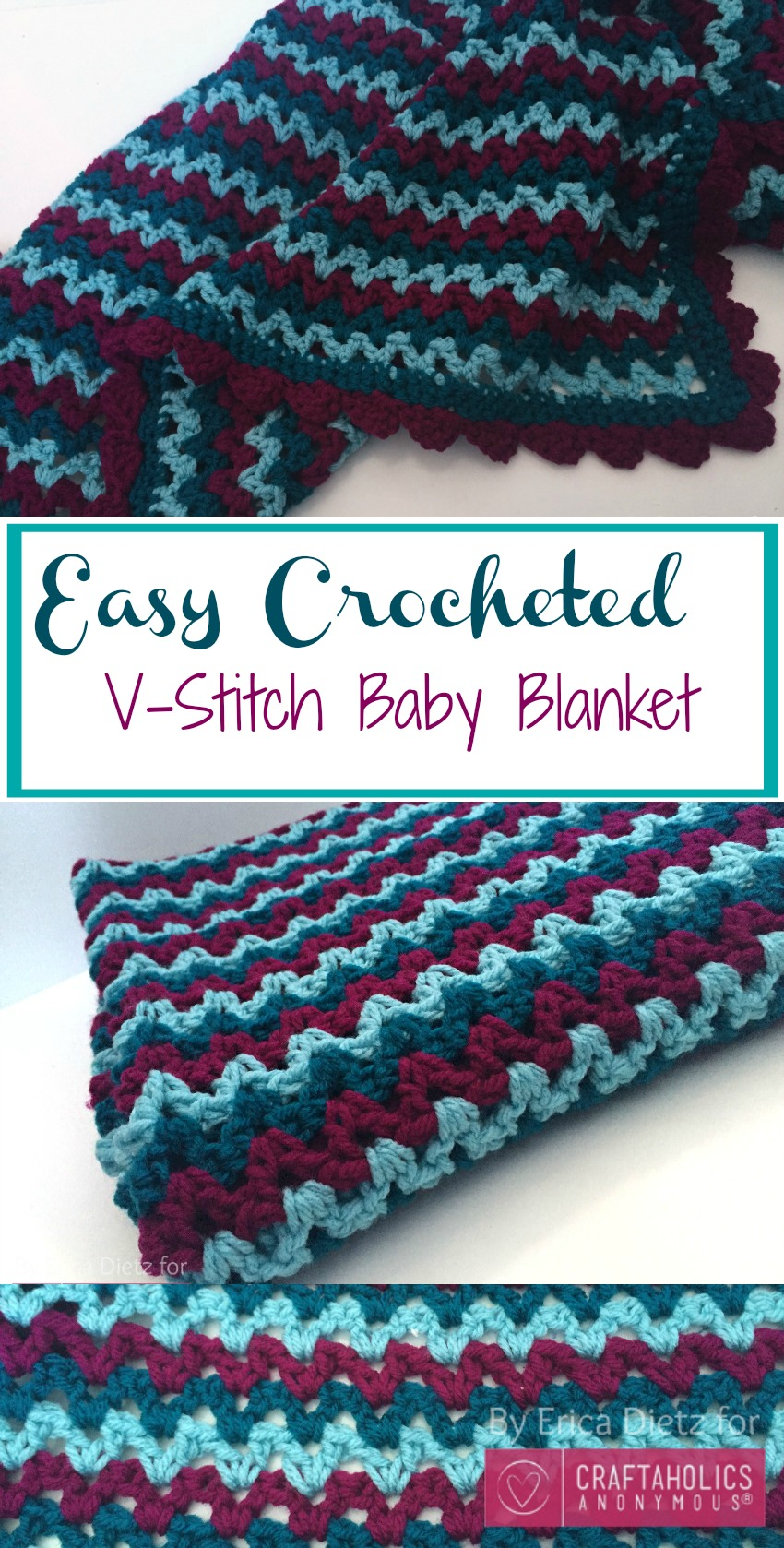easy v-stitch baby blanket