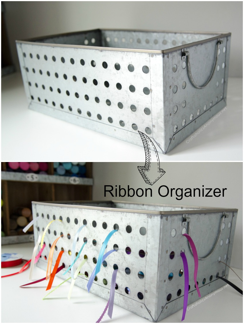 Metal ribbon storage box - you can find these at Michaels!