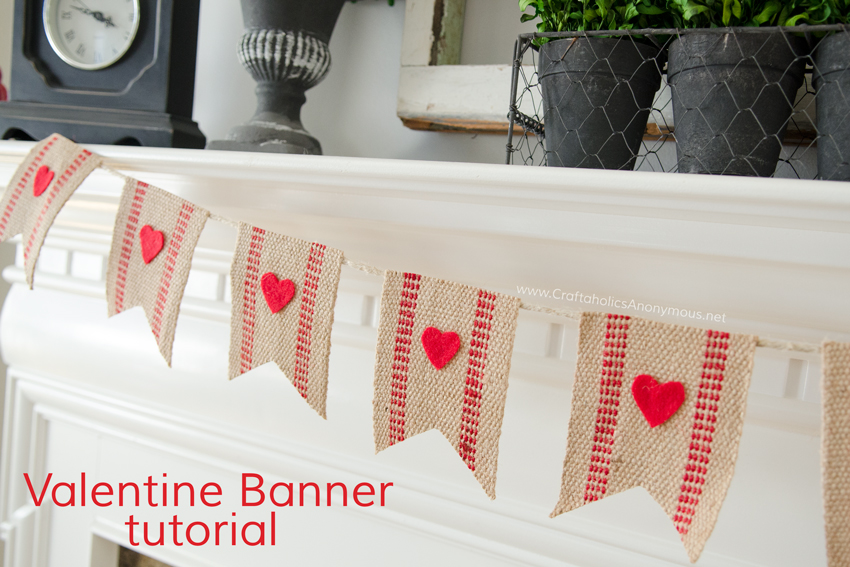 Easy Valentine Banner tutorial :: Use jute webbing and red felt hearts