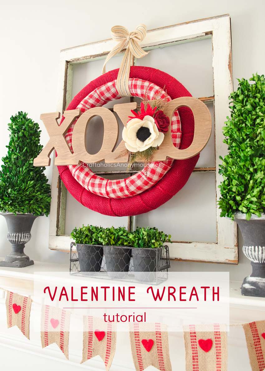 DIY Valentine Wreath Tutorial :: Use 2 wreath forms for a layered look!