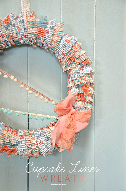 spring cupcake liner wreath