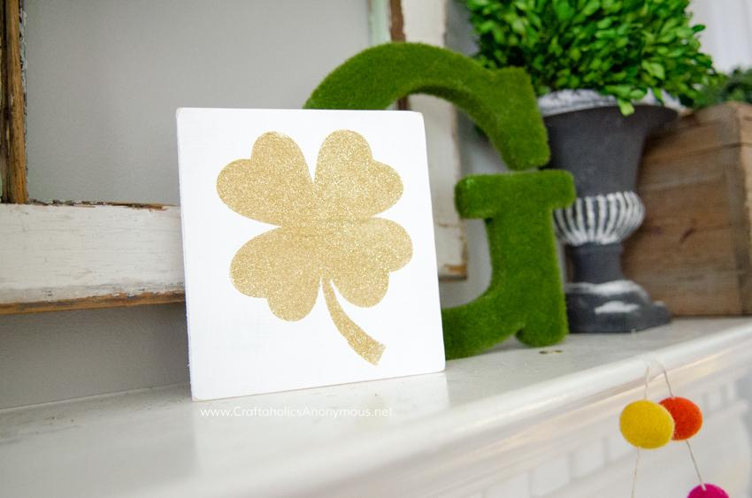 DIY Gold Glitter shamrock sign