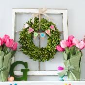 DIY Easter Mantle decor