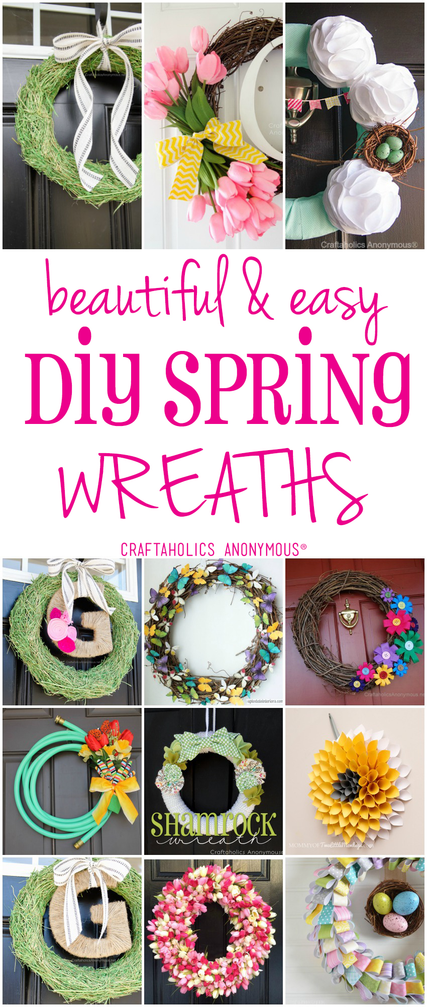 Easy and Beautiful DIY Spring Wreaths to add a touch of spring to your front porch at craftaholicsanonymous.net