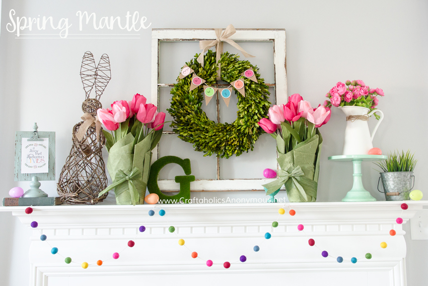 Spring Mantel decor. Love the Easter bunny and rainbow garland!