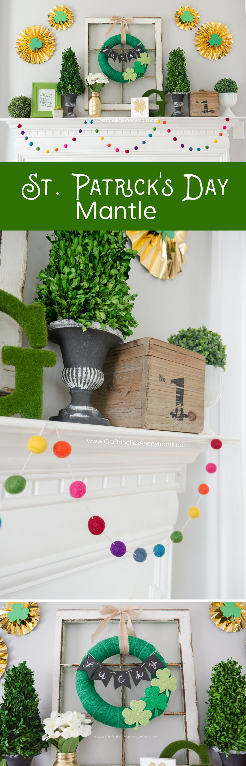 DIY St. Patrick's Day Mantle. That rainbow felt ball garland is to die for!