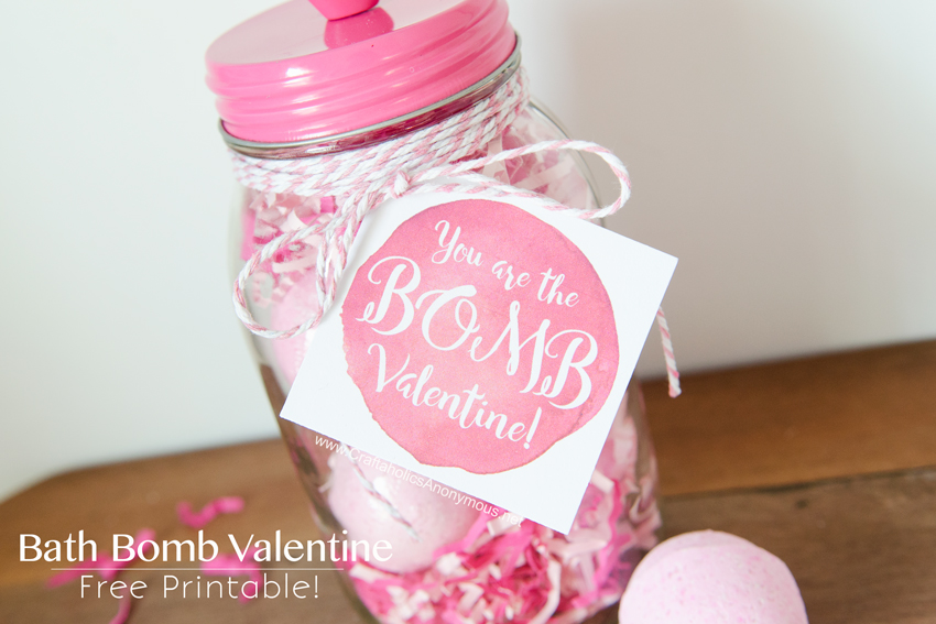 Valentine Bath Bomb gift idea with Free printable gift tag! Great for teachers, neighbors, Galentines, etc. www.CraftaholicsAnonymous.net