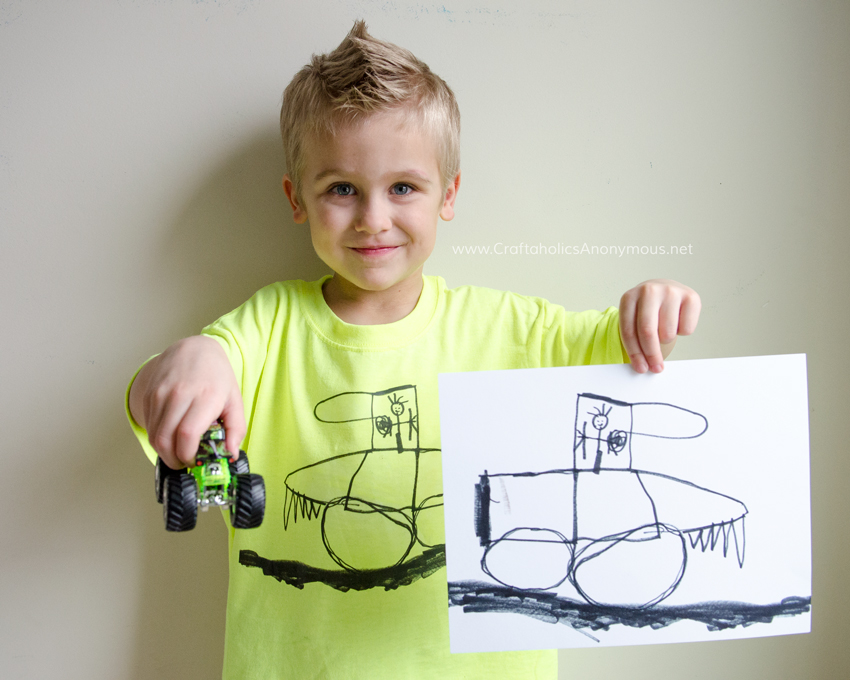 Kids artwork turned into a t-shirt in minutes! Super easy DIY tutorial