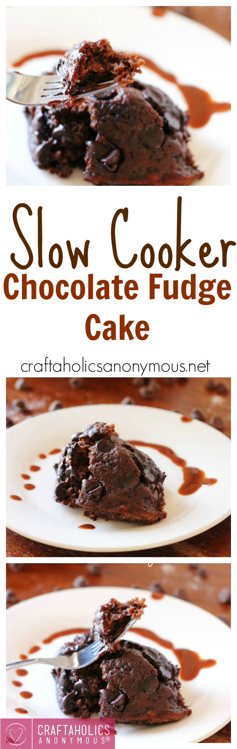 Slow Cooker Chocolate Fudge Cake - the easiest and most delicious chocolate cake made in your slow cooker! Get the recipe at craftaholicsanonymous.net!