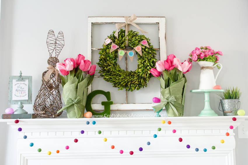 Spring Mantle DIY decor