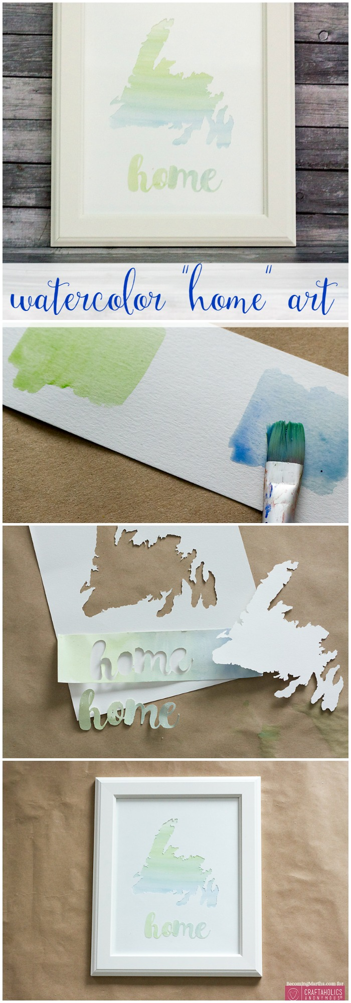 DIY Watercolor Home Love Art from craftaholicsanonymous.net