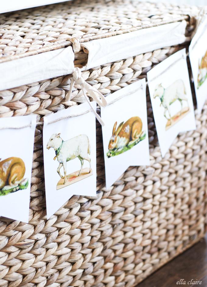 printable lamb and bunny banner