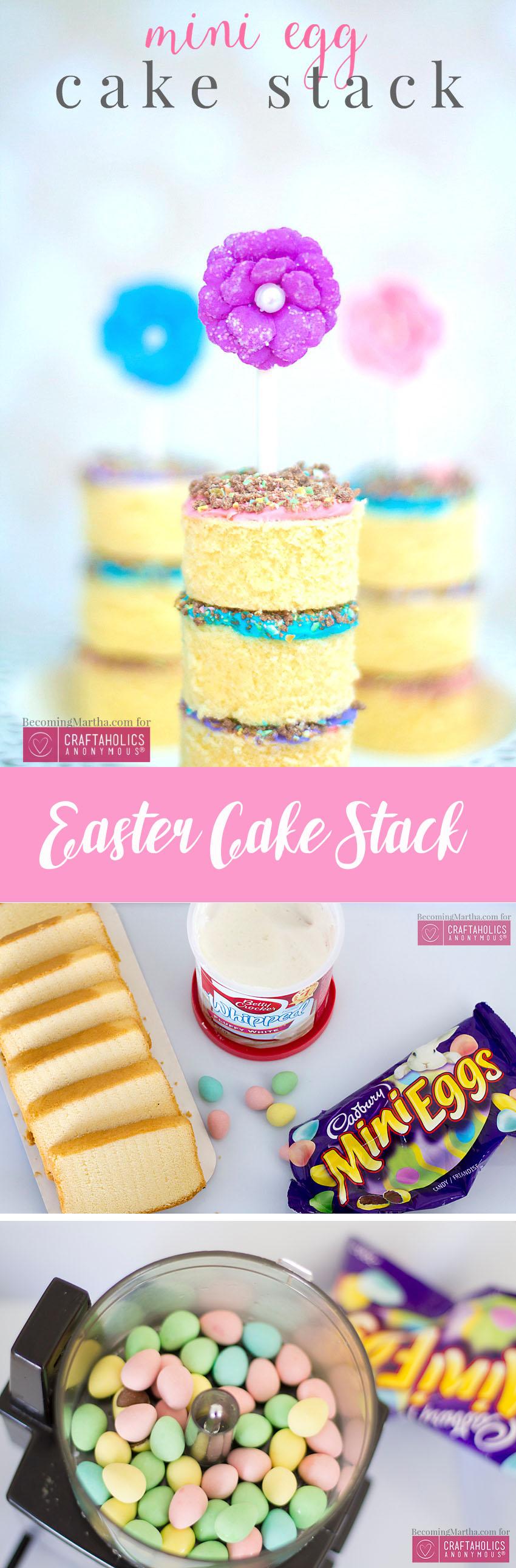 Easter Cake Stack. Cute and YUMMY Easter treat idea using Mini Cadbury Eggs!