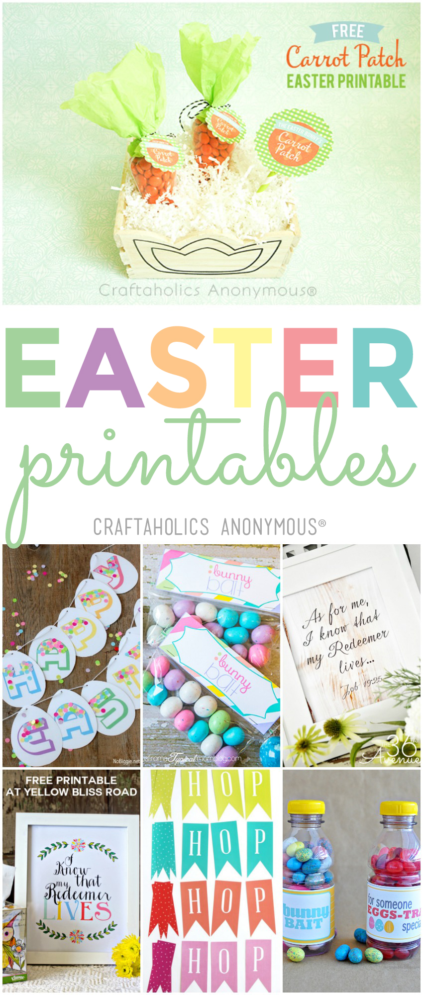 Over 40 of the cutest Free Easter Printables for your holiday decor this year! Check out the full post at craftaholicsanonymous.net!