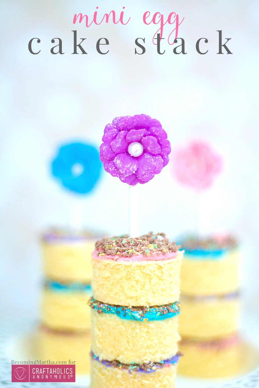 Colorful and yummy! Cadbury Mini Eggs cake stack s are a fun treat to make and eat! Easter Dessert