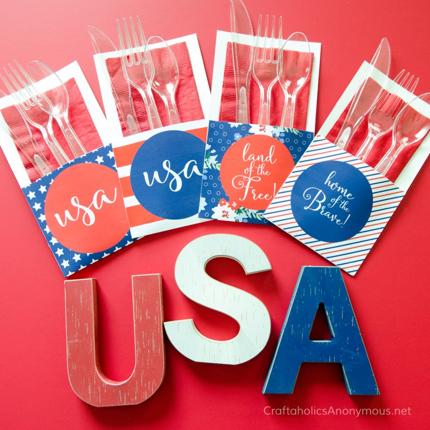 4th of July Free Printable Utensil holders || Great for any patriotic gathering!