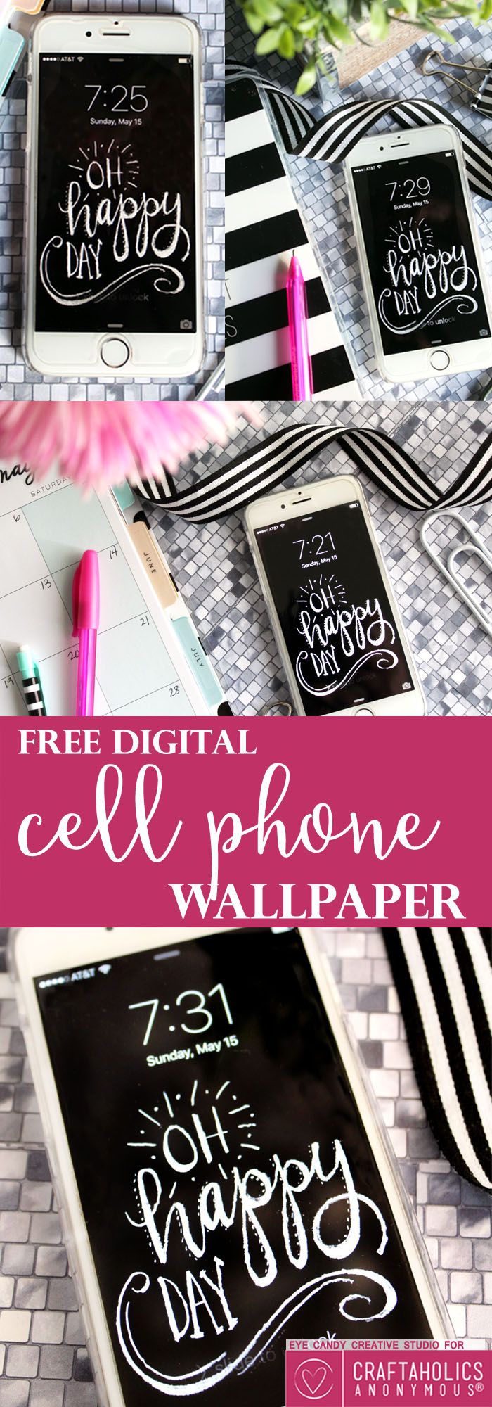 Cute chalkboard cell phone wallpaper download from Craftaholics Anonymous®