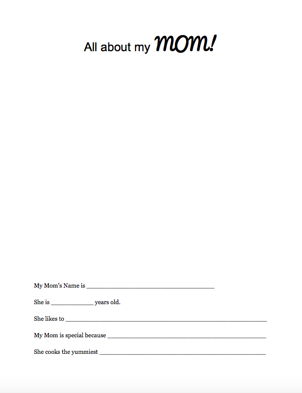 All About Mom Free Printable. Click for download link.