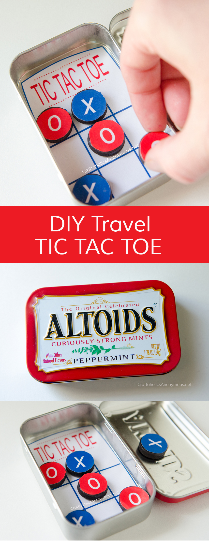 DIY Pocket Tic Tac Toe game made with Altoids tin. Great for Road Trips or church. Great Kids Craft idea for summer or even a handmade Christmas gifts.