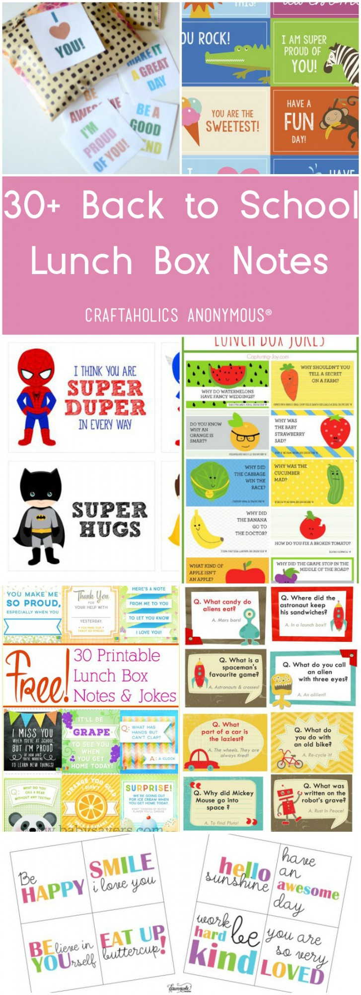 30+ Free Printable Lunch Box Notes