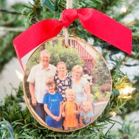 DIY Wood Slice Photo Ornament