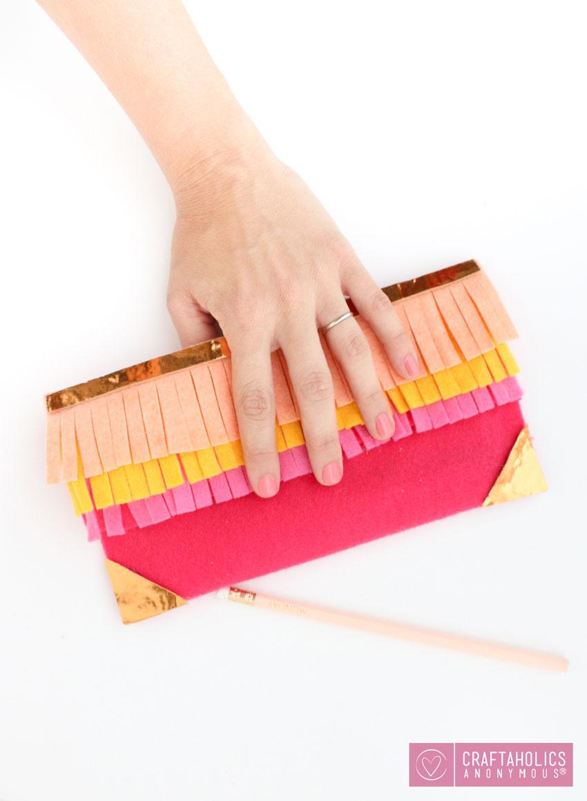 diy fringe pencil case