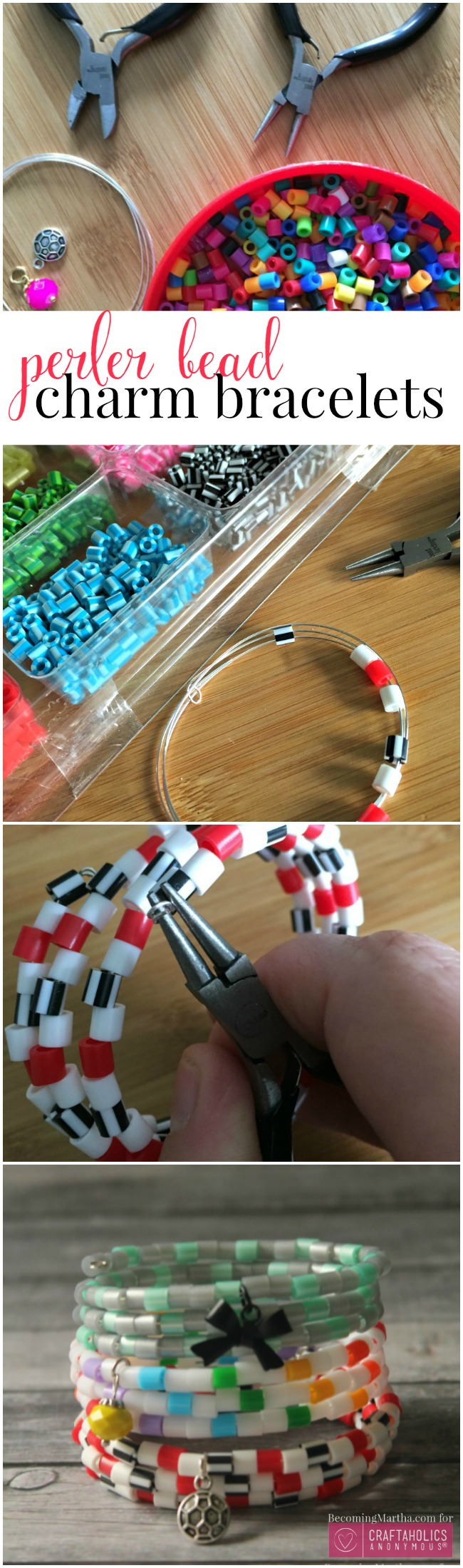Easy Perler Bead Charm Bracelets! Fun and easy craft to make with your tween - craftaholicsanonymous.net
