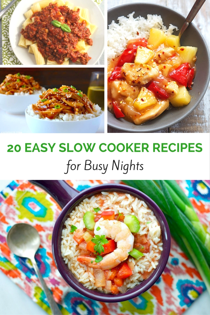 20 Delicious and Easy Slow Cooker Recipes for easy weeknight meals! Get dinner on the table fast with these quick and easy recipes for your crockpot! craftaholicsanonymous.net