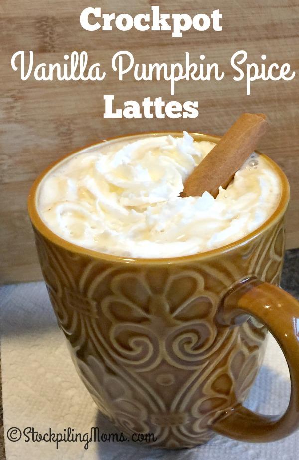 Crockpot Vanilla Pumpkin Spice Lattes