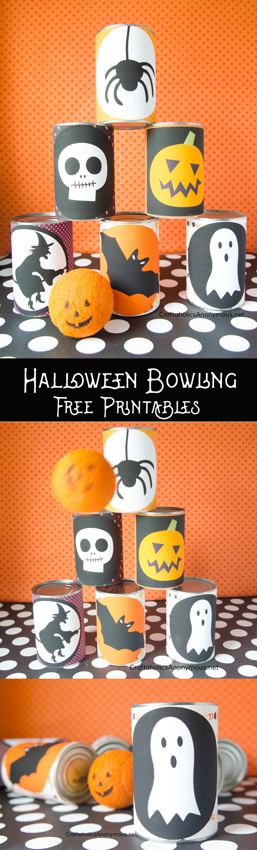 DIY Halloween Bowling Game idea with FREE Printables. Great way to reuse tin cans!